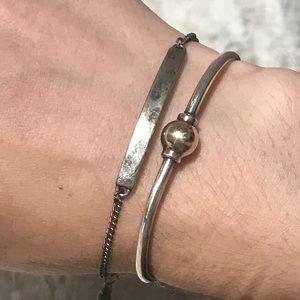 ▪️Hammered Silver Metal Bar Bracelet